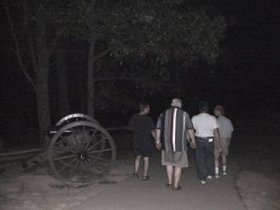 Walking back down Little Roundtop after dark past General Warrens artillery.