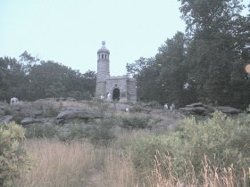 The memmorial to the 140th New York is castlelike on Little Roundtop.